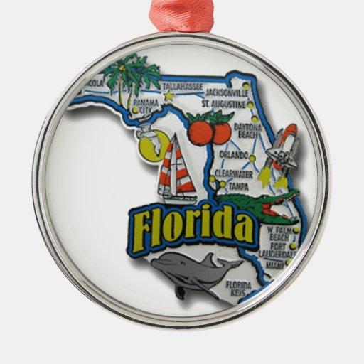florida2.jpg round metal christmas ornament