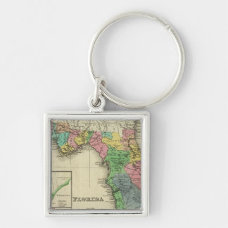 Florida 11 Silver-Colored square keychain