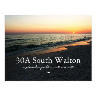 Florida 30A South Walton Gulf Sunset Postcard