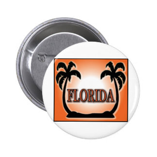 Florida Airbrushed Look Orange Sunset Palm Trees Pinback Buttons