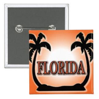 Florida Airbrushed Look Orange Sunset Palm Trees Pinback Button