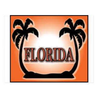 Florida Airbrushed Look Orange Sunset Palm Trees Postcard