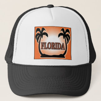 Florida Airbrushed Look Orange Sunset Palm Trees Trucker Hat