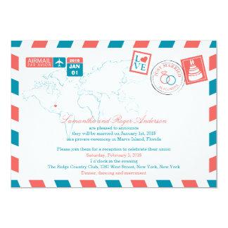 Florida Airmail Post Wedding Reception Card