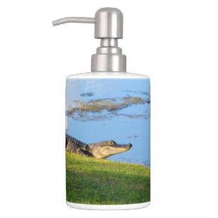 Florida Alligator On A Golf Course Photo Bathroom Set