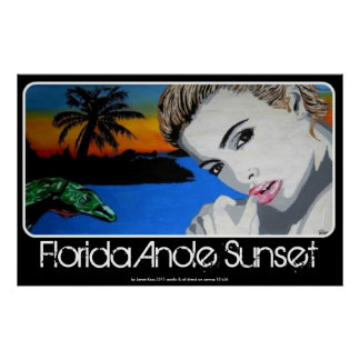 Florida Anole Sunset painting on a Poster