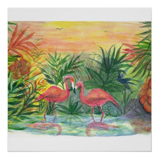 Florida Art - flamingos Poster