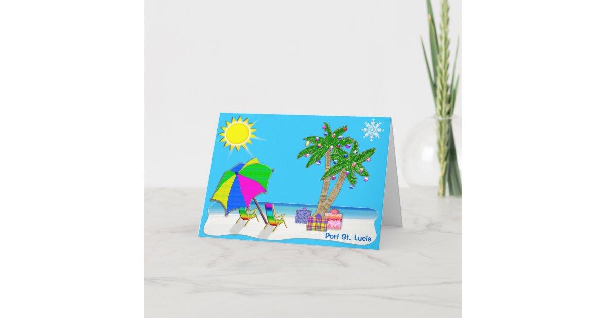 Florida Beach Christmas Cards with Your CITY | Zazzle.com