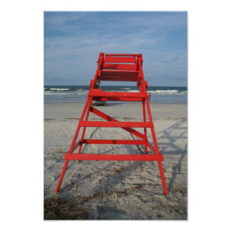 Florida Beach Lifeguard Red Chair Posters