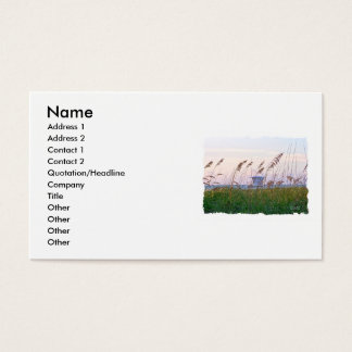 Florida beach pink and purple sunset business card