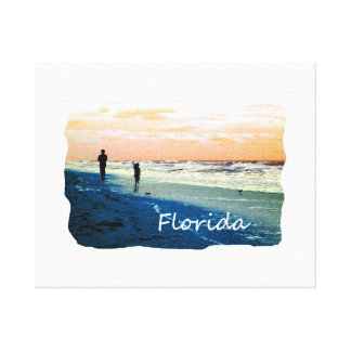 Florida Beach Scene People Running Orange Blue Canvas Print
