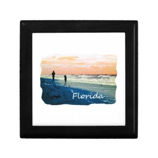 Florida Beach Scene People Running Orange Blue Jewelry Box