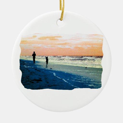 Florida Beach Scene People Running Orange Blue No Double-Sided Ceramic Round Christmas Ornament