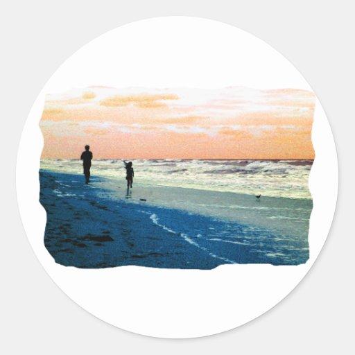 Florida Beach Scene People Running Orange Blue No Classic Round Sticker