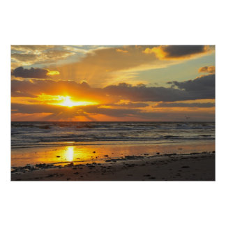 Florida Beach Scenic Sunrise Poster