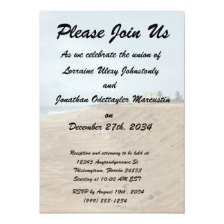 Florida beach south empty before storm 5x7 paper invitation card