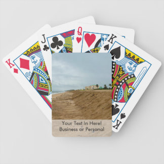 Florida beach south empty before storm bicycle playing cards