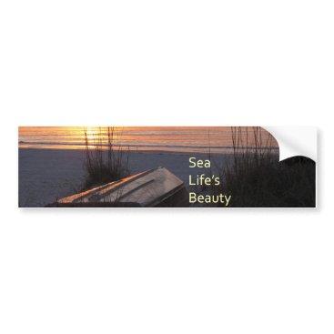 Beach Themed Florida Beach Sunset Sea Life's Beauty Bumper Sticker