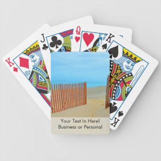 florida beach with fence colorful bicycle playing cards