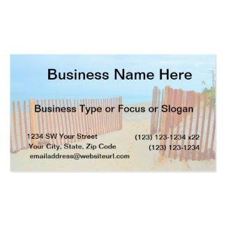 florida beach with fence colorful Double-Sided standard business cards (Pack of 100)