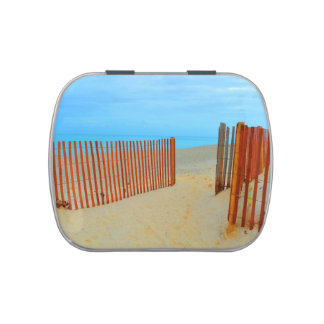 florida beach with fence colorful jelly belly tin