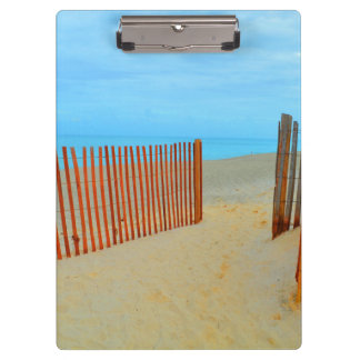 florida beach with fence colorful clipboard
