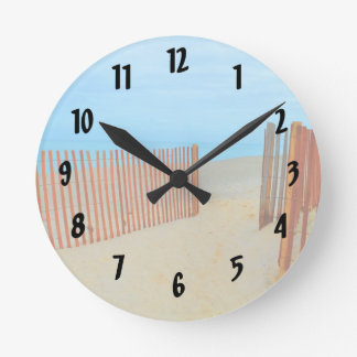 florida beach with fence colorful round clock