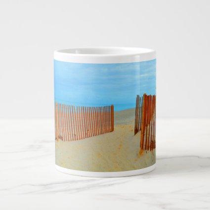 florida beach with fence colorful extra large mug
