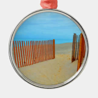 florida beach with fence colorful ornament