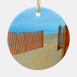 florida beach with fence colorful christmas tree ornament