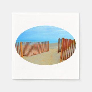 florida beach with fence colorful disposable napkin