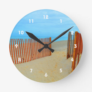 florida beach with fence colorful round wall clock