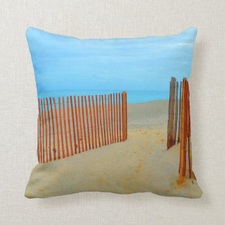 florida beach with fence colorful throw pillow