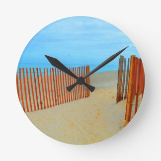 florida beach with fence colorful wallclocks