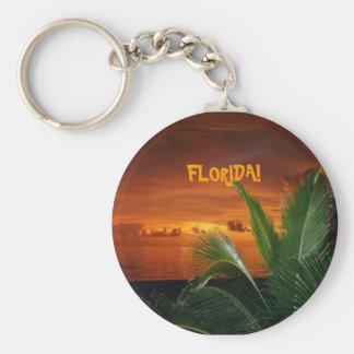 FLORIDA! beautiful Florida sunset, palm tree Basic Round Button Keychain