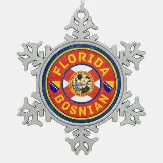 Florida Bosnian American Xmas Decoration. Snowflake Pewter Christmas Ornament