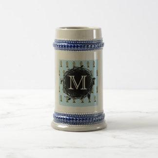 Florida Burrowing Owl Blue Monogram Beer Stein