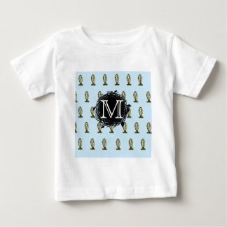 Florida Burrowing Owl Blue Monogram Nest Pattern Baby T-Shirt