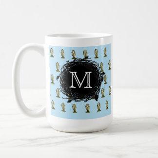 Florida Burrowing Owl Blue Monogram Nest Pattern Coffee Mug