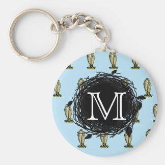 Florida Burrowing Owl Blue Monogram Nest Pattern Keychain