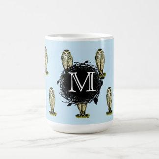 Florida Burrowing Owl Blue Monogram Pattern Coffee Mug