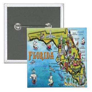 Florida Cartoon Map 2 Inch Square Button