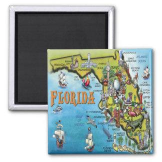 Florida Cartoon Map 2 Inch Square Magnet
