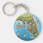 Florida Cartoon Map Basic Round Button Keychain