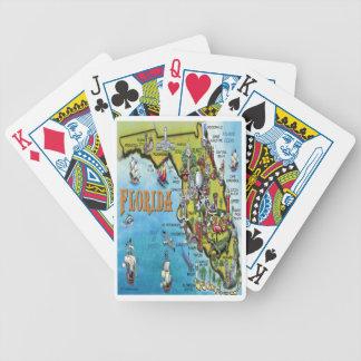 Florida Cartoon Map Bicycle Playing Cards