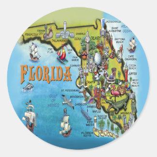 Florida Cartoon Map Classic Round Sticker