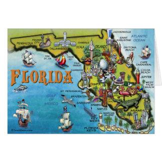 Florida Cartoon Map Greeting Card