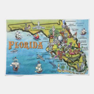Florida Cartoon Map Kitchen Towels