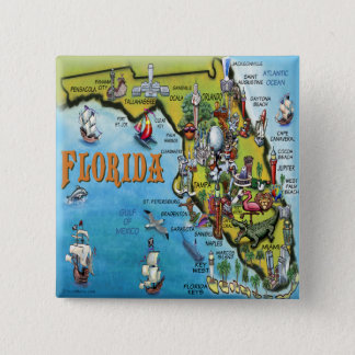 Florida Cartoon Map Pinback Button