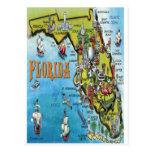 Florida Cartoon Map Post Card